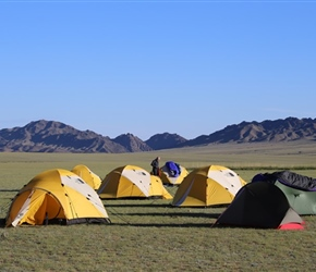 Early morning sun lights up the Camp Site
