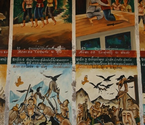 Educational murals on temple wall