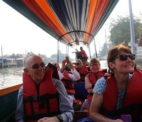 John and Margaret on canal on Longboat tour