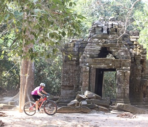 Margaret Powell in Angkor Wat complex