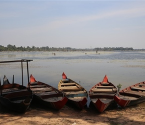 Boats at resevoir in Angkor