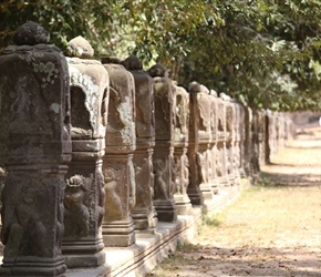 Stones to reservoir in Angkor Wat