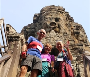 Lorna, Keith and Margaret Powell at Bayon Temple