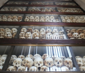 Central Skull memorial at Killing Fields south of Phnom Pehn