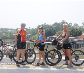 Malc, Gilly and Lynne on bridge near Chau Doc