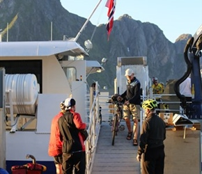Barney leaves the ferry at Solvaer