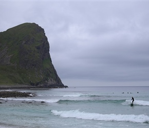 Surfers at Unstad