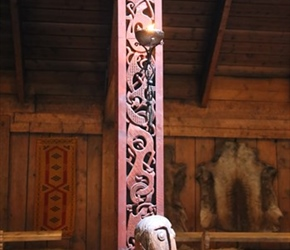 Carved post Inside Long House at Lofotr Museum
