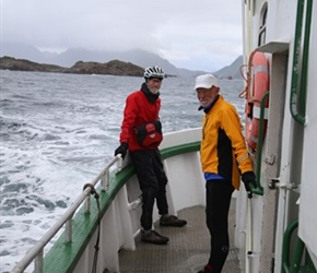 Ian and Barney on the Ballstad to Nysfjord boat