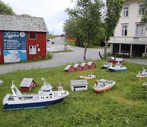 Model ships at A decorate the village square
