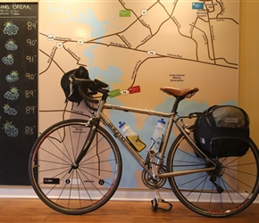 Neils bike against the local weather map at Jacksonville