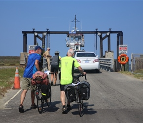 Barney and Phil push onto the Ocracoke to Hattaras ferry