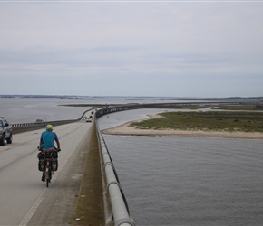 Colin on the bridge over Oregon Inlet