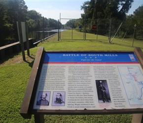 One of the many information plaques scattered about. This one on the Civil War battle for South Mills and the waterway