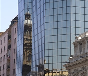 Cathedral reflection in High Rise, Santiago Chile