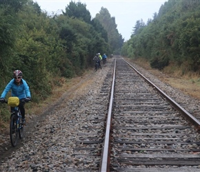 Along tracks at Puerto Varas, the trains run once a week