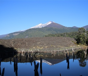 Volcan Llaima reflected in Lake