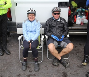 Deborah and Stephen waiting at the border, nice of them to provide outside seating