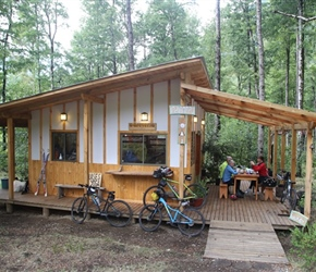 Cafe, on a fast downhill, tucked in the woods, would have been rude to miss it