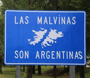 A not so gentle reminder - Las Malvenas sign