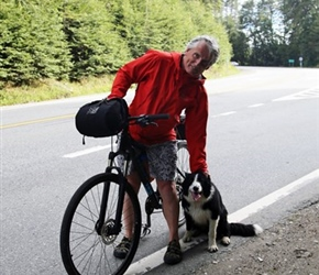 Neil and the dog that followed me 10 miles from the accommodation