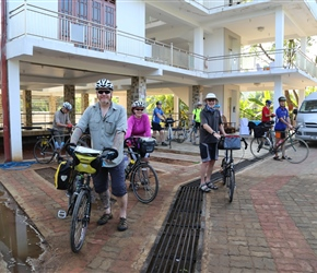 Mike and Nikkey outside the Happy Leoni Hotel and about to set off to explore Anuradhapura
