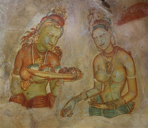 Apsara Frescoes on Mirror Wall at Sigiriya Rock Fortress, from about the 5th century