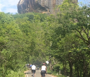 Malc and Carel heads towards Sigiriya Rock Fortress as it towers above the road