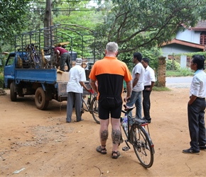 Loading bikes at Spice Garden