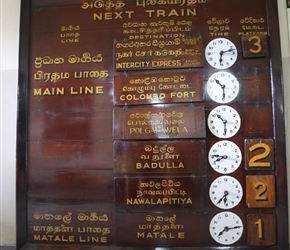 Train timetable at Kandy