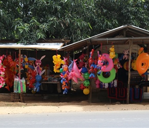 Plastic inflatable shop in Embilipitiya. Typical of stalls in Sri Lanka that concentrate on  one thing and then frequently in groups