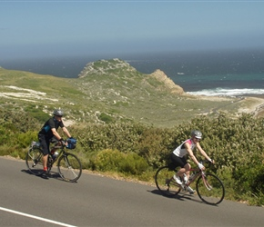Stephen and Cherry cycle past the Cape of Good Hope
