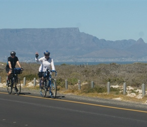 Sherry and Steve near Blouberg with Table Mountain behind
