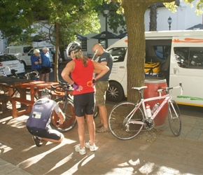 Ready to set out, Dave our guide helps set up the bikes in Stellenbosch