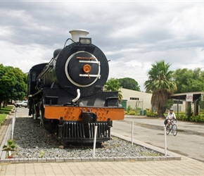 "The 4-8-2 locomotive plinthed next to the main street in Ashton, Western Cape, is a SAR Class 14CRB engine n0 2010, built in 1919, as works no 60565 by the Montreal Locomotive Works division of the American Locomotive Co (""ALCO"")."