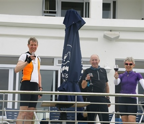 Tim Lloyd, Steve and Shery Cormack toast our arrival at Arniston Hotel
