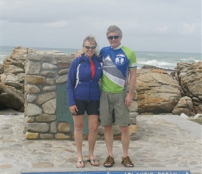 Steve and Beth at Cape Agulhas where the Pacific Ocean meets the Atlantic Ocean