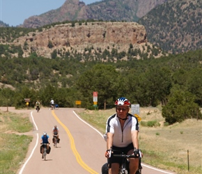 Phil finds the tarmac at the end of the ride into Canon City