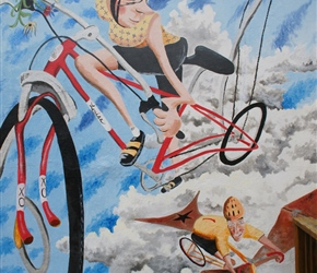 Mural at Absolute Bikes. Did we visit it and did folks buy a cycling jersey there?........yes