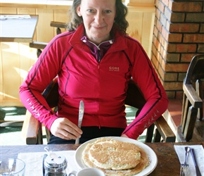 Helen Dutton with enormous pancakes for breakfast at Monarch Mountain Lodge