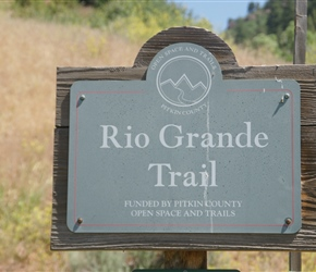 Rio Grande sign. This branch line was built by the Denver & Rio Grande Western in order to tap silver mines in the area around Aspen