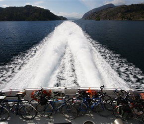Between the islands on the Express Ferry, bikes safely stowed