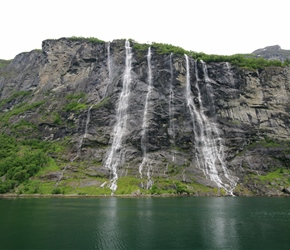 Seven Sisters waterfall in Geirangfjorden from the ferry