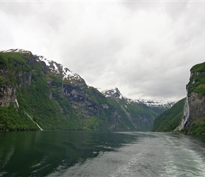 Looking back at the seven sisters waterfall from the ferry on Geirangfjorden