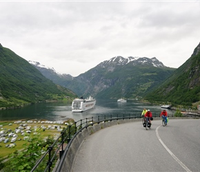 John, Linda and Alan climbing towards the Union Hotel in Geiranger. One of the many cruise liners lie in the fjord
