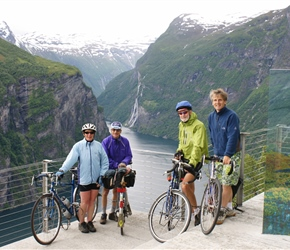 Linda, Colin, Edwin and Neil from the Eagle Road Viewpoint overlooking Geirangerfjorden