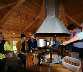 Cooking evening in the hut at the cabins