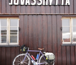Neils bike at the top of Juvasshytta, the highest road in Norway