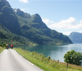 Edwin, Sheila and Joan head along the romantic road along the south shore of Sognefjord