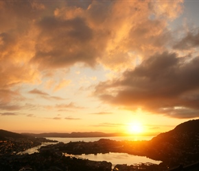 Sunset over Bergen from Montana YHA